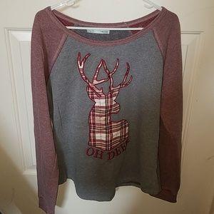 Red and grey Oh Deer sweatshirt